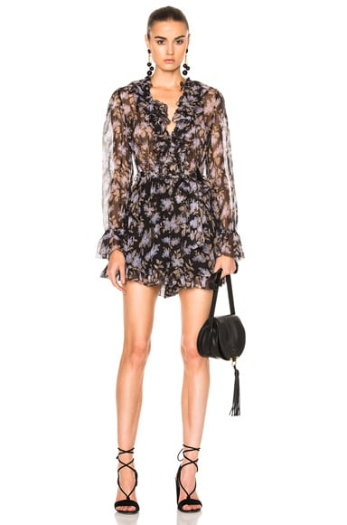 Zimmermann Stranded Ruffle Playsuit in Black Lavender Floral