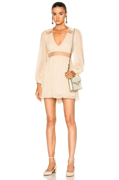 Zimmermann Bowerbird Empire Playsuit in Nude Dot