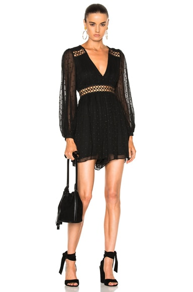 Zimmermann for FWRD Bowerbird Empire Playsuit Romper in Black with Black Dot