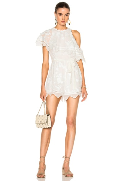 Zimmermann Mercer Bird Floating Playsuit in Ivory