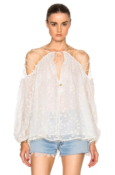 Zimmermann Eden Laced Top in Natural