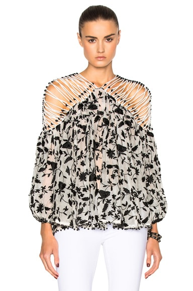 Zimmermann Master Embroidered Lattice Top in Black & Natural