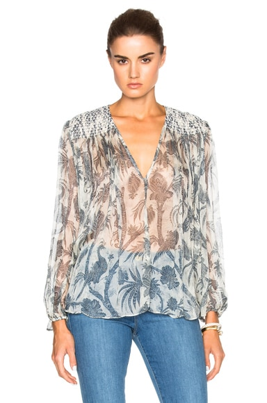 Zimmermann Adorn Smock Top in Bird Chintz