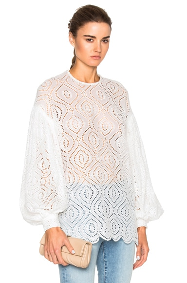 Zimmermann Karmic Embroidered Top in Pearl
