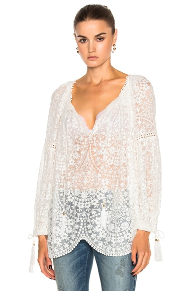 Zimmermann Gossamer Scallop Blouse in Ivory