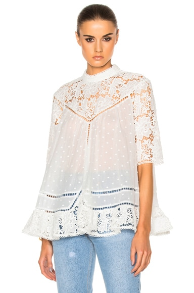 Zimmermann Caravan Embroidered Smock Top in Ivory