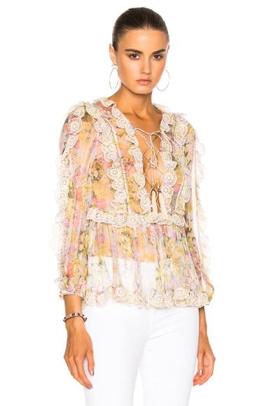 Zimmermann Valour Scallop Ruffle Top in Floral