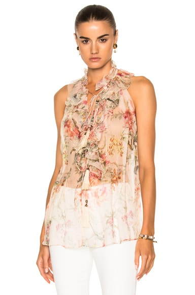Zimmermann Mercer Ruffle Top in Cream Floral