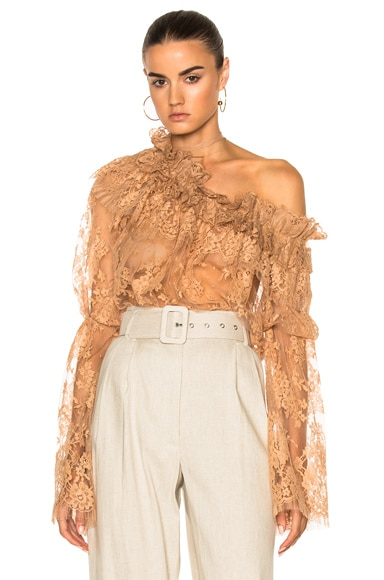 Zimmermann Bowerbird Lace Blouse in Nude