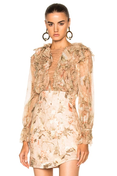 Zimmermann Bowerbird Teased Blouse in Apricot Floral