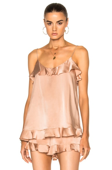 Zimmermann Bowerbird Sueded Flutter Cami in Nude