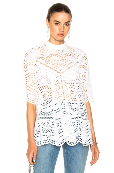 for FWRD Paradiso Broderie Paneled Smock Top