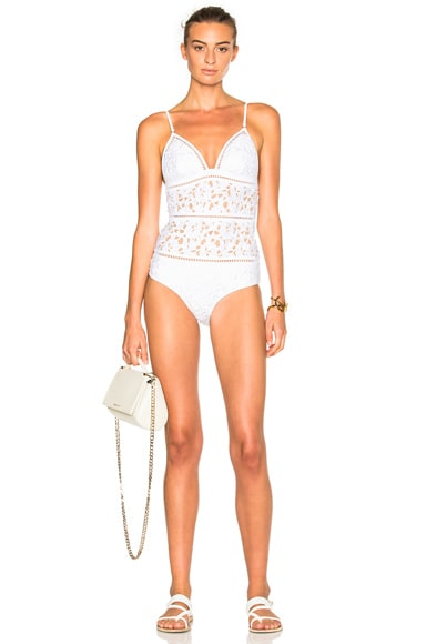 Zimmermann Roza Embroidered Swimsuit in White