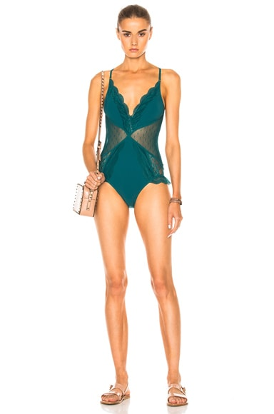 Zimmermann Tropicale Lace Swimsuit in Teal