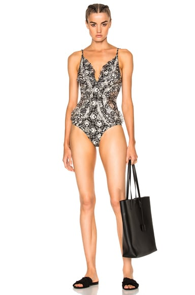 Zimmermann Divinity Ruffle Swimsuit in Spliced