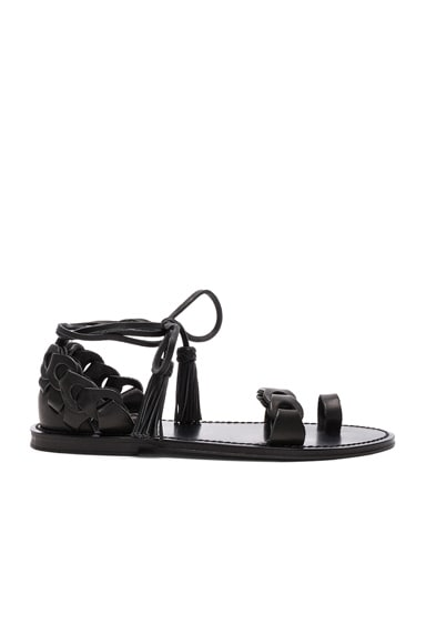 Zimmermann Leather Link Tie Sandals in Black