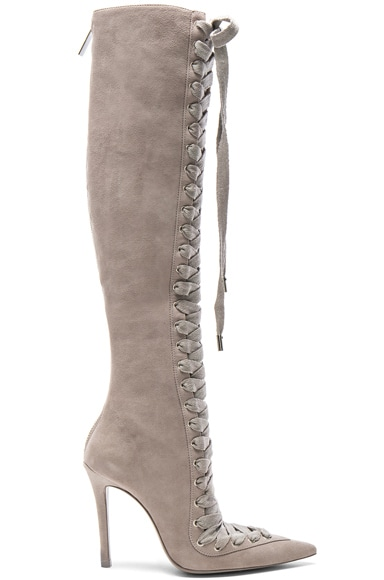 Zimmermann Lace Up Suede Long Boots in Elephant