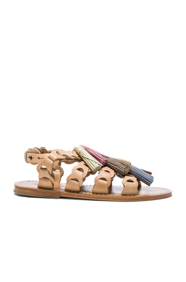 Leather Link Tassel Sandals