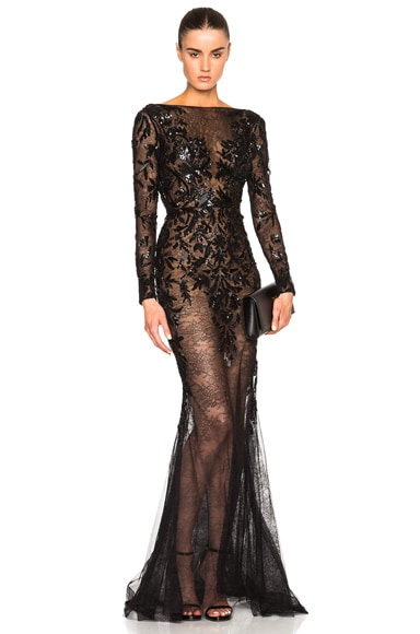 Zuhair Murad Embroidered Lace Gown in Black