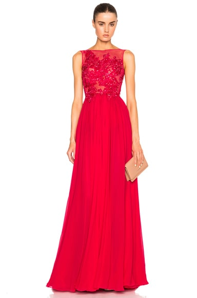 Zuhair Murad Embroidered Gown in Red