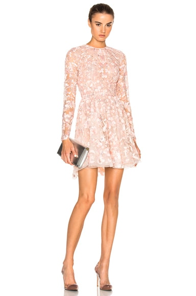 Zuhair Murad Embroidered Long Sleeve Mini Dress in Silver Peony Powder
