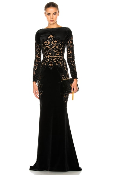 Embroidered Velvet Dress