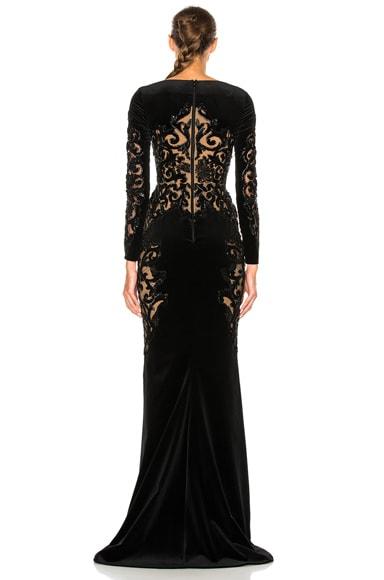 Embroidered Velvet Dress