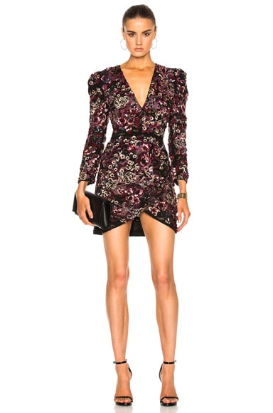 Zuhair Murad Beaded Mini Dress in Beaujolais Flowers