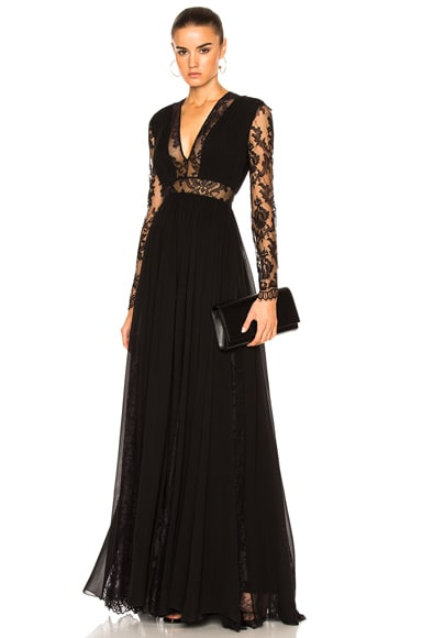 Zuhair Murad Georgette & Lace V Neck Gown in Black