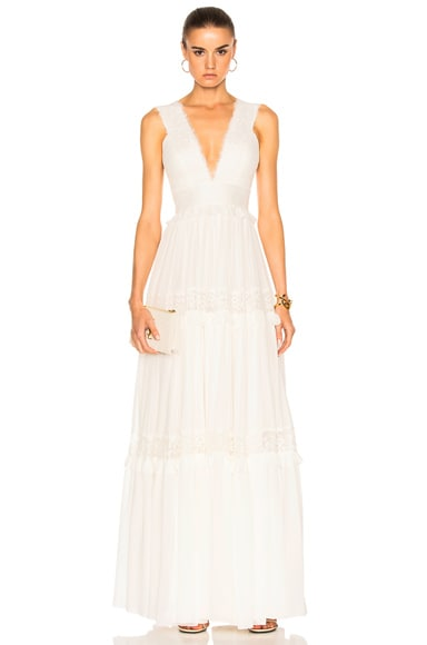 Zuhair Murad Georgette & Lace Gown in Bright White