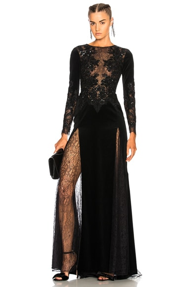 Mermaid Long Sleeve Embroidered Velvet Dress