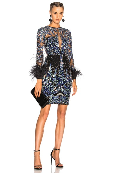 Long Sleeve Fully Beaded Feather Detail Mini Dress