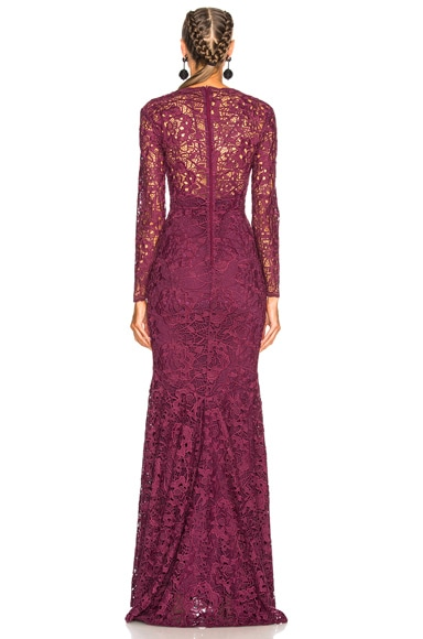 Long Plunging Neckline Guipure Lace Dress