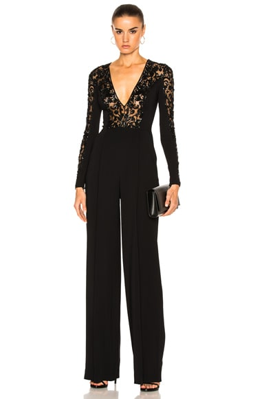 Zuhair Murad Flared Leg Embroidered Jumpsuit in Raven