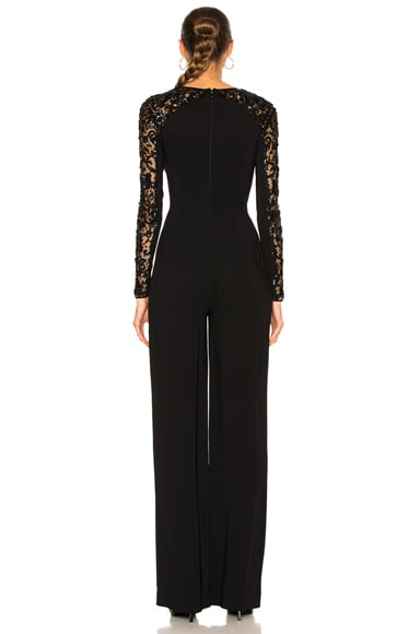 Flared Leg Embroidered Jumpsuit