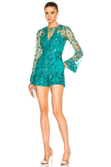 Zuhair Murad Short Embroidered Tulle Jumpsuit in Deep Peacock Blue