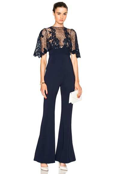 Zuhair Murad Fitted Jumpsuit with Lace Appliques in Navy