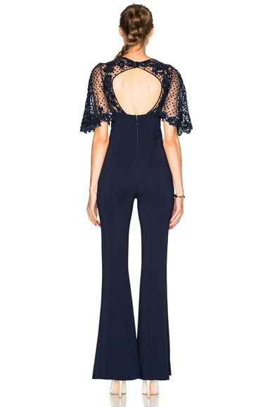 Fitted Jumpsuit with Lace Appliques