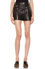 Multi-zip Lambskin Leather Shorts