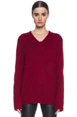 Loose Fit Nylon-Blend V-Neck Sweater