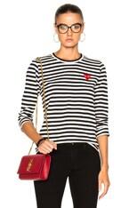 Cotton Red Emblem Stripe Tee