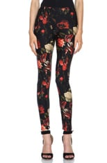 Red Floral Print Jersey Legging