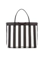 Large Stripe Coated Canvas and Stud Tote