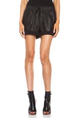 Washed lambskin Leather Shorts
