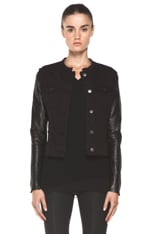 Blackened Leather Sleeve Denim Jacket