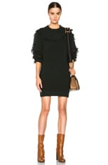 Wool Blend Sweater Dress with Fringes