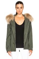 Short Canvas Parka Jacket with Raccoon Fur