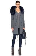 Canvas Parka Jacket with Raccoon Fur