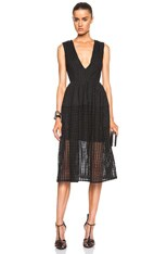 Grid Lace Deep V Ball Dress