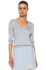 Embroidered Cashmere-Blend V-Neck Sweater